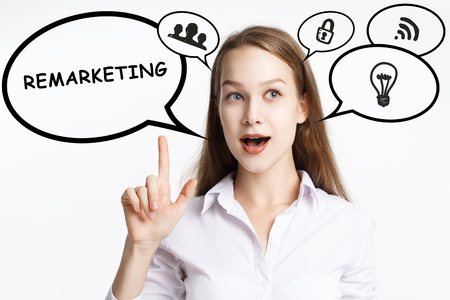 Business, technology, internet and networking concept. A young entrepreneur comes to mind the keyword: Remarketing Banque d'images - 124906561