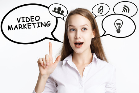 Business, technology, internet and networking concept. A young entrepreneur comes to mind the keyword: Video marketing Banque d'images - 124906564