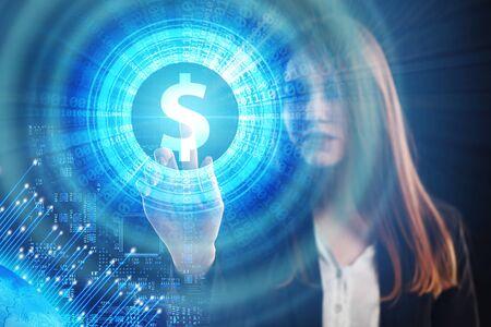 Het concept van zaken, technologie, internet en het netwerk. Een jonge ondernemer werkt aan een virtueel scherm van de toekomst en ziet de inscriptie: dollar Stockfoto