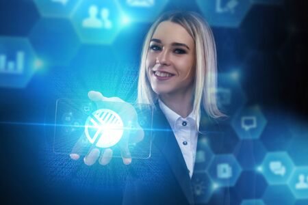 The concept of business, technology, the Internet and the network. A young entrepreneur working on a virtual screen of the future and sees the inscription: pie chart