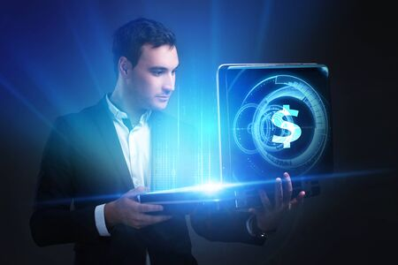 The concept of business, technology, the Internet and the network. A young entrepreneur working on a virtual screen of the future and sees the inscription: dollar Stockfoto