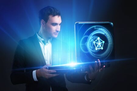 The concept of business, technology, the Internet and the network. A young entrepreneur working on a virtual screen of the future and sees the inscription: connections Stock fotó