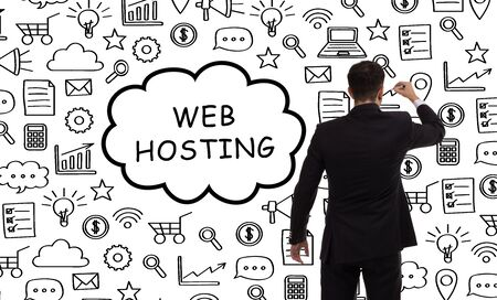 Business, technology, internet and networking concept. Young entrepreneur showing keyword: Web hosting