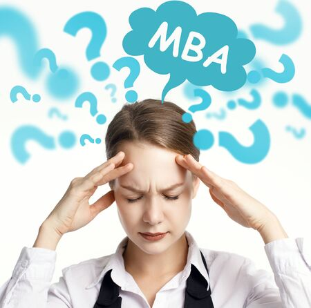 Business, technology, internet and network concept. The young entrepreneur comes up with an important idea: MBA