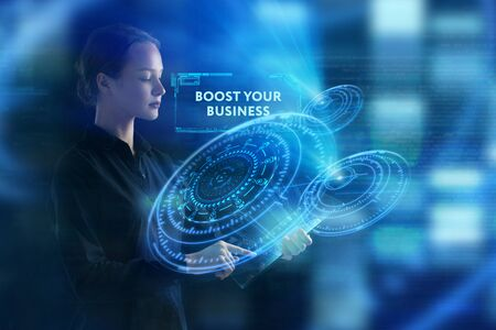 The concept of business, technology, the Internet and the network. A young entrepreneur working on a virtual screen of the future and sees the inscription: