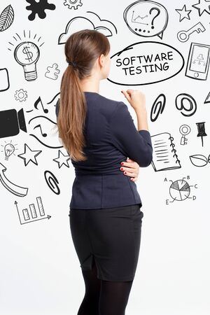 Business, technology, internet and network concept. An important phrase occurs to a young entrepreneur: software testing Stock fotó
