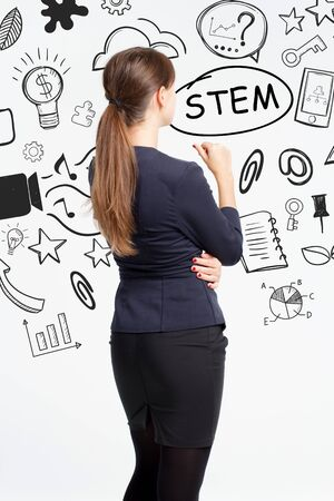 Business, technology, internet and network concept. An important phrase occurs to a young entrepreneur: stem