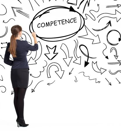 Business, technology, internet and network concept. An important phrase occurs to a young entrepreneur: competence