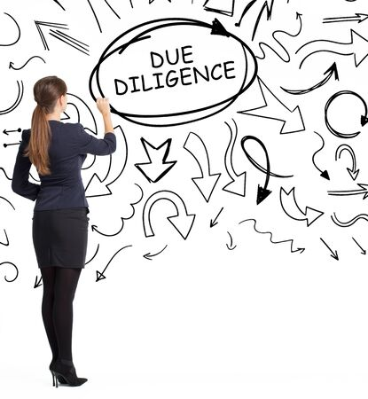 Business, technology, internet and network concept. An important phrase occurs to a young entrepreneur: due diligence