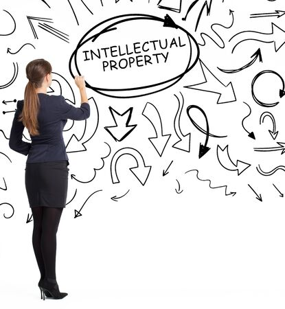 Business, technology, internet and network concept. An important phrase occurs to a young entrepreneur: intellectual property