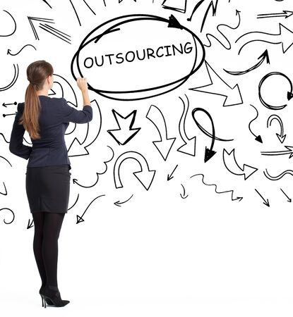 Business, technology, internet and network concept. An important phrase occurs to a young entrepreneur: outsourcing 写真素材