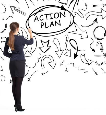 Business, technology, internet and network concept. An important phrase occurs to a young entrepreneur: action plan
