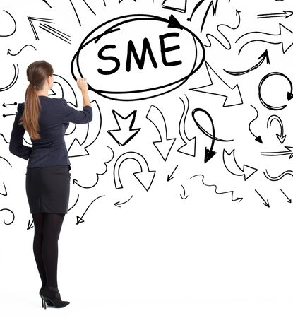 Business, technology, internet and network concept. An important phrase occurs to a young entrepreneur: SME