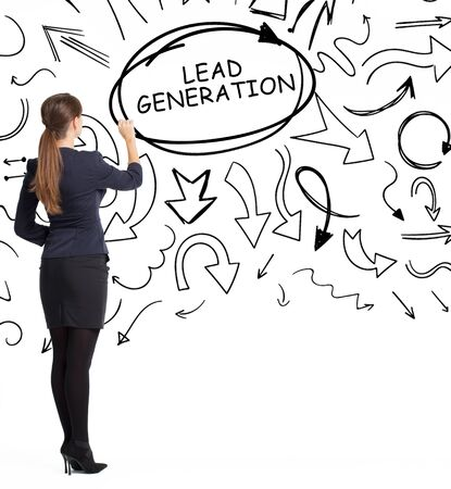 Business, technology, internet and network concept. An important phrase occurs to a young entrepreneur: lead generation