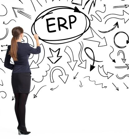 Business, technology, internet and network concept. An important phrase occurs to a young entrepreneur: ERP