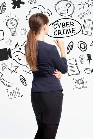 Business, technology, internet and network concept. An important phrase occurs to a young entrepreneur: cyber crime