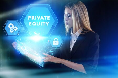 Business, Technology, Internet and network concept. Young businessman working on a virtual screen of the future and sees the inscription: Private equity