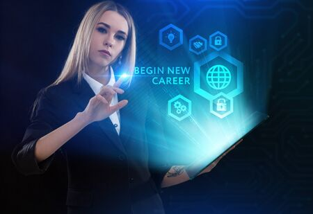 Business, Technology, Internet and network concept. Young businessman working on a virtual screen of the future and sees the inscription: begin new career