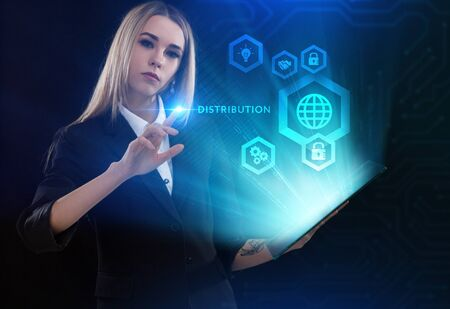 Business, Technology, Internet and network concept. Young businessman working on a virtual screen of the future and sees the inscription: Distribution