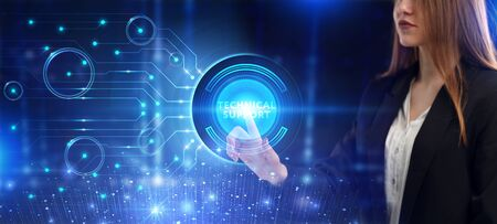 Business, Technology, Internet and network concept. Young businessman working on a virtual screen of the future and sees the inscription: Technical support