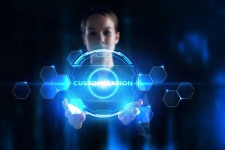 Business, Technology, Internet and network concept. Young businessman working on a virtual screen of the future