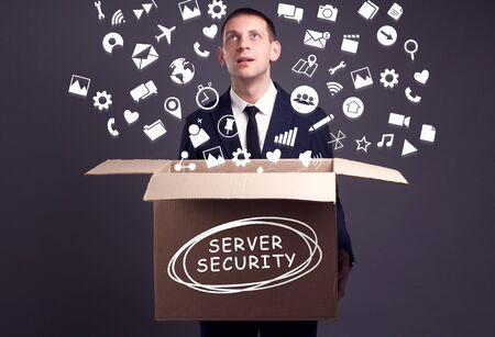 Business, technology, internet and network concept. A young businessman collects information to become successful: Server security