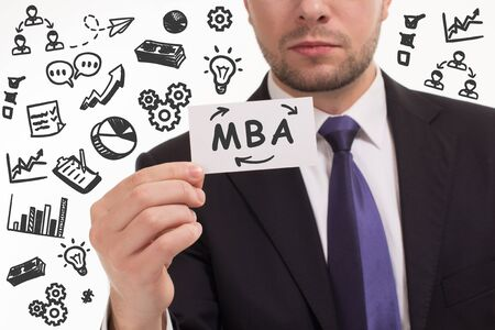 Business, technology, internet and network concept. Young businessman thinks over the steps for successful growth: MBA