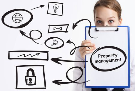 Business, technology, internet and network concept. Young businessman thinks over the steps for successful growth: Property management