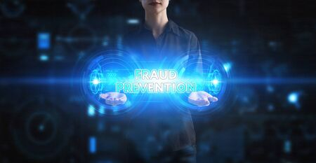 Business, Technology, Internet and network concept. Young businessman working on a virtual screen of the future and sees the inscription: Fraud prevention Foto de archivo - 150127740