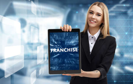 Business, Technology, Internet and network concept. Young businessman working on a virtual screen of the future and sees the inscription: Franchise