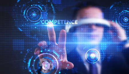 Business, technology, internet and network concept. Young businessman thinks over the steps for successful growth: Competence Standard-Bild