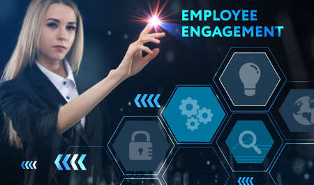 Business, technology, internet and network concept. Young businessman thinks over the steps for successful growth: Employee engagement Standard-Bild