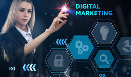Business, technology, internet and network concept. Young businessman thinks over the steps for successful growth: Digital marketing Standard-Bild