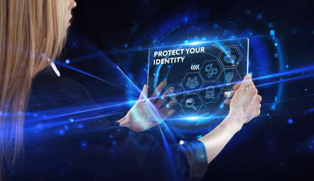 Business, technology, internet and network concept. Young businessman thinks over the steps for successful growth: Protect your identity Standard-Bild