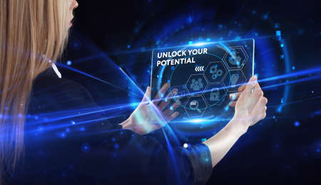 Business, technology, internet and network concept. Young businessman thinks over the steps for successful growth: Unlock your potential