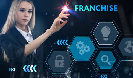 Business, technology, internet and network concept. Young businessman thinks over the steps for successful growth: Franchise Standard-Bild