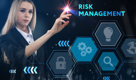 Business, technology, internet and network concept. Young businessman thinks over the steps for successful growth: Risk management