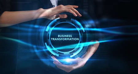 Business, technology, internet and network concept. Young businessman thinks over the steps for successful growth: Business transformation