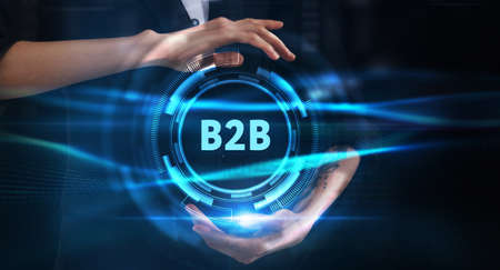 Business, technology, internet and network concept. Young businessman thinks over the steps for successful growth: B2B