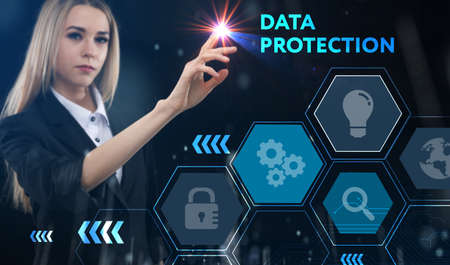 Business, technology, internet and network concept. Young businessman thinks over the steps for successful growth: Data protection