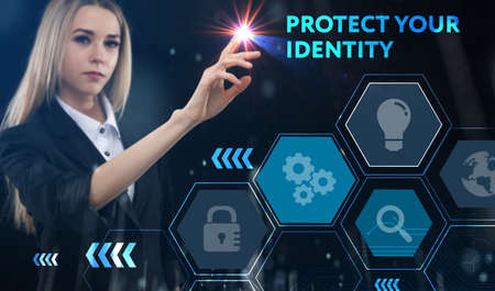 Business, technology, internet and network concept. Young businessman thinks over the steps for successful growth: Protect your identity Foto de archivo