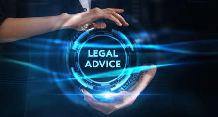 Business, technology, internet and network concept. Young businessman thinks over the steps for successful growth: Legal advice