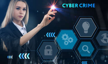 Business, technology, internet and network concept. Young businessman thinks over the steps for successful growth: Cyber crime