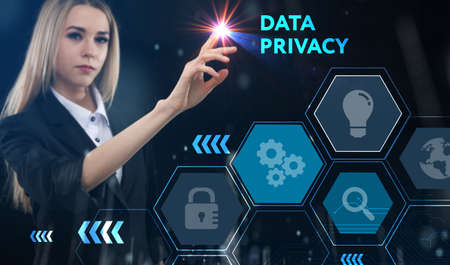 Business, technology, internet and network concept. Young businessman thinks over the steps for successful growth: Data privacy Foto de archivo