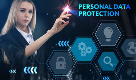 Business, technology, internet and network concept. Young businessman thinks over the steps for successful growth: Personal data protection