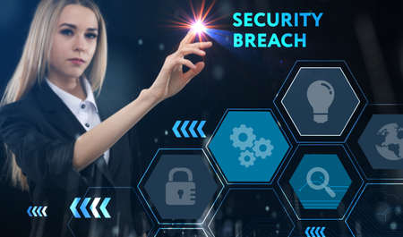 Business, technology, internet and network concept. Young businessman thinks over the steps for successful growth: Security breach
