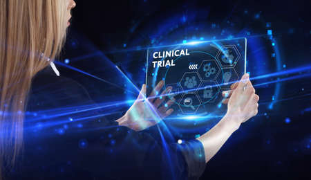 Business, technology, internet and network concept. Young businessman thinks over the steps for successful growth: Clinical trial
