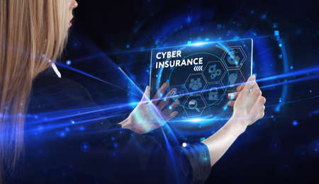 Business, technology, internet and network concept. Young businessman thinks over the steps for successful growth: Cyber insurance
