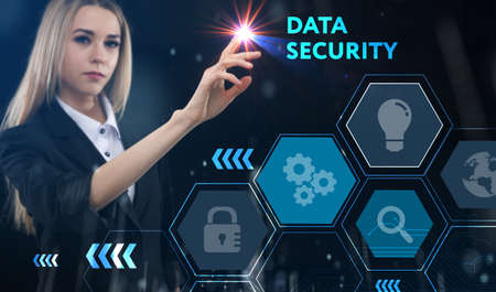 Business, technology, internet and network concept. Young businessman thinks over the steps for successful growth: Data security