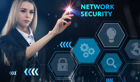 Business, technology, internet and network concept. Young businessman thinks over the steps for successful growth: Network security